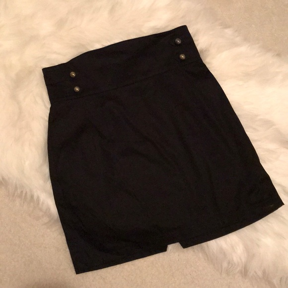 309871db29 H&M Skirts | Chic Black Mini Skirt With Gold Button Accents | Poshmark